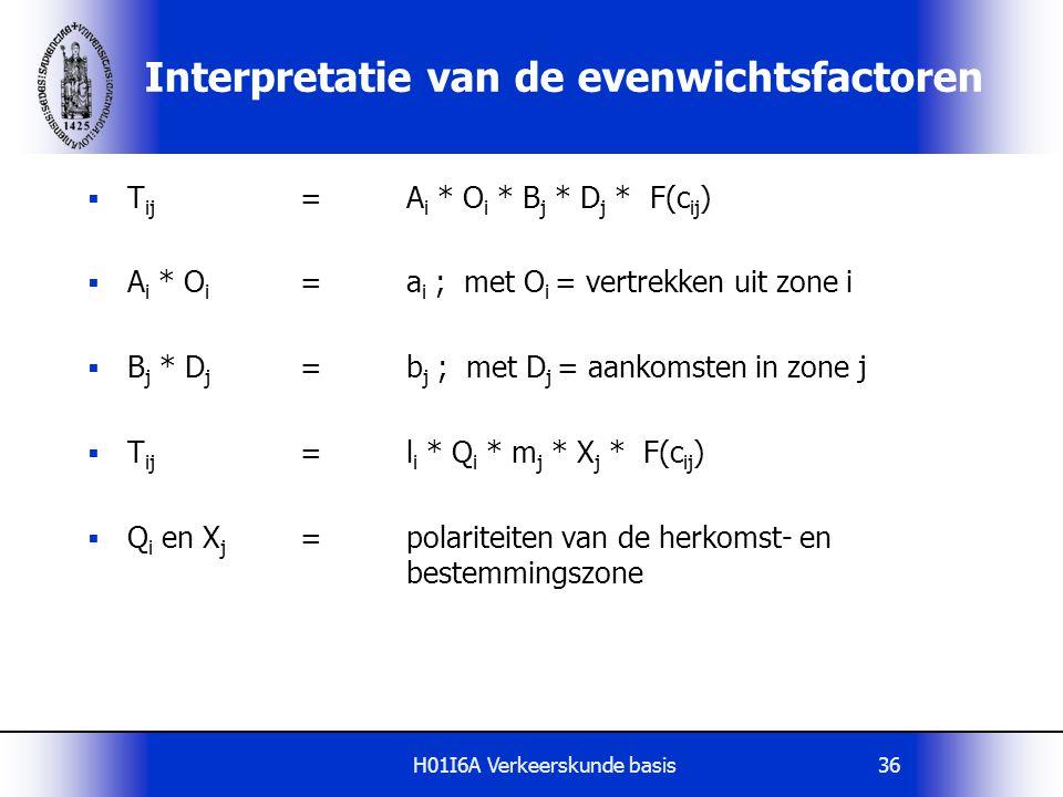 H01I6A Verkeerskunde basis37 Calibratie van de distributiefunctie Principe:  Gegeven een H-B tabel met waarnemingen  Neem aan dat voor deze H-B tabel een zwaartekrachtmodel geldt: T ij =a i * b j * f(c ij )  Parameters zijn a i, b j en de parameters in de distributiefunctie f(c ij )  Calibreren betekent nu: Bepaal parameters zodanig dat een maximale aansluiting met de waargenomen H-B tabel wordt verkregen