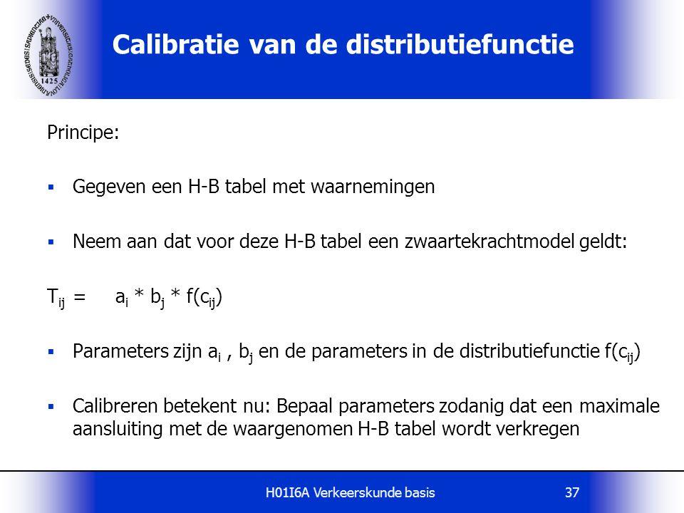 H01I6A Verkeerskunde basis37 Calibratie van de distributiefunctie Principe:  Gegeven een H-B tabel met waarnemingen  Neem aan dat voor deze H-B tabe