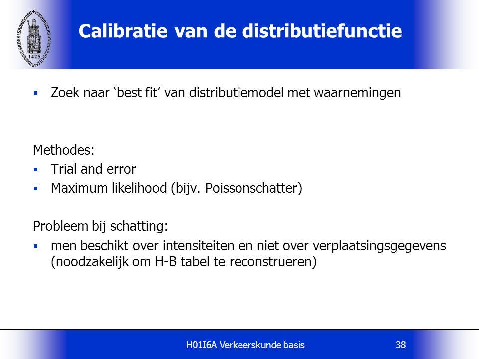 H01I6A Verkeerskunde basis38 Calibratie van de distributiefunctie  Zoek naar 'best fit' van distributiemodel met waarnemingen Methodes:  Trial and e