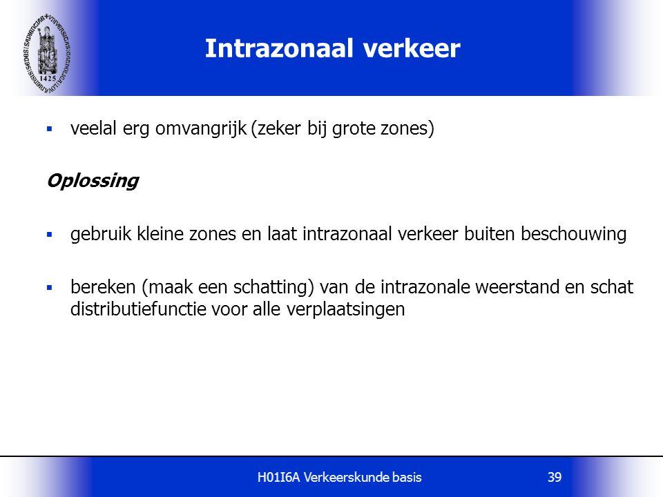 H01I6A Verkeerskunde basis39 Intrazonaal verkeer  veelal erg omvangrijk (zeker bij grote zones) Oplossing  gebruik kleine zones en laat intrazonaal