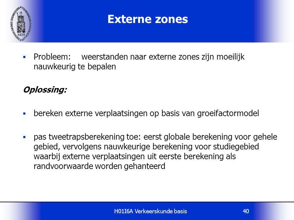 H01I6A Verkeerskunde basis40 Externe zones  Probleem: weerstanden naar externe zones zijn moeilijk nauwkeurig te bepalen Oplossing:  bereken externe