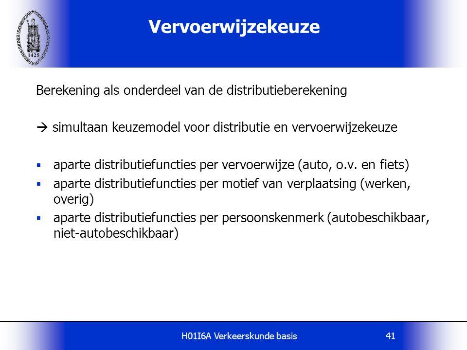 H01I6A Verkeerskunde basis42 Vervoerwijzekeuze Invloedsfactoren:  kenmerken van de reiziger  bezit (beschikbaarheid) vervoermiddel  rijbewijsbezit  kenmerken van de vervoerwijze (reistijd, kosten, etc.)  kenmerken van de verplaatsing (motief, tijdstip, etc.)