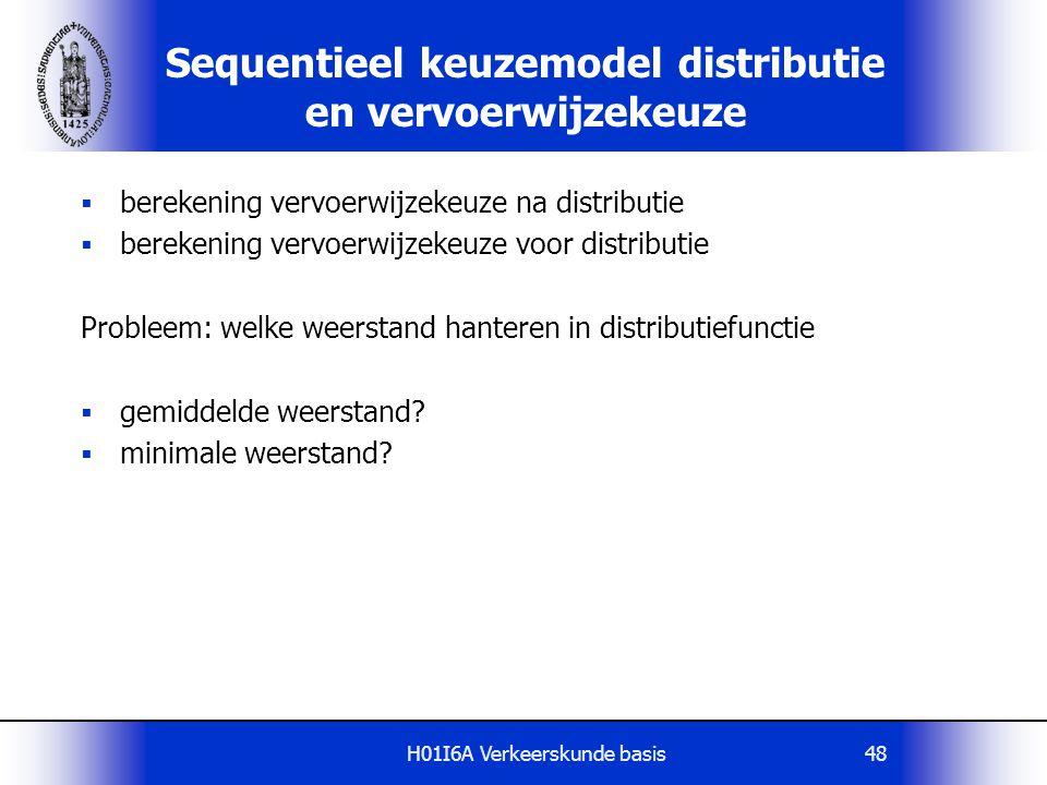 H01I6A Verkeerskunde basis48 Sequentieel keuzemodel distributie en vervoerwijzekeuze  berekening vervoerwijzekeuze na distributie  berekening vervoe