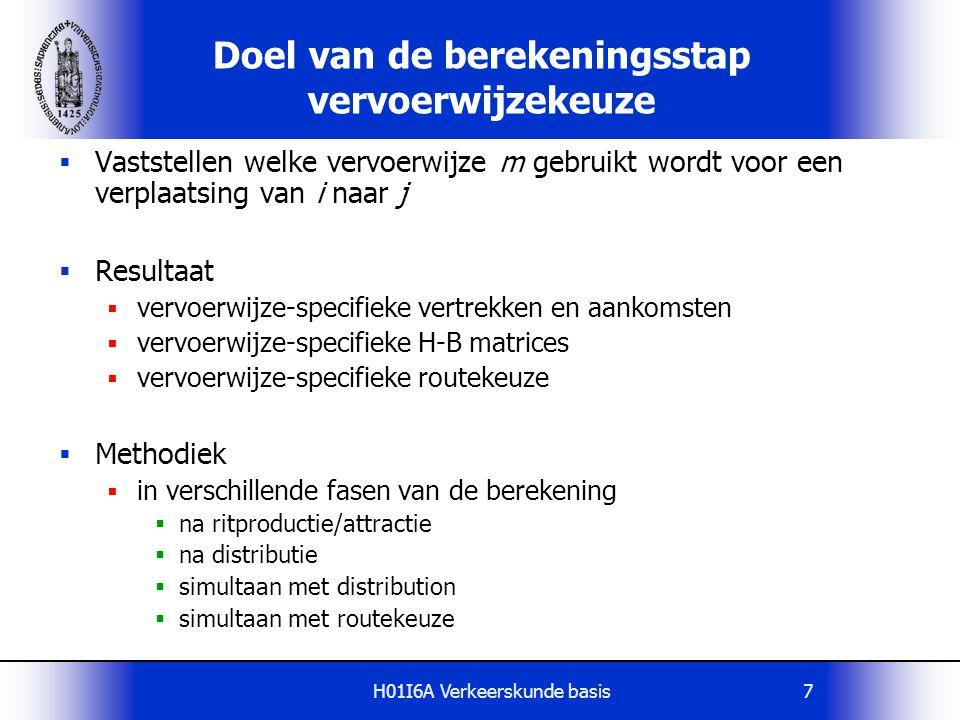 H01I6A Verkeerskunde basis8 Sequentieel model 1 Productie/attractie Vervoerwijzekeuze Toedeling Vervoerwijzekeuze heeft geen invloed op distributie Distributie