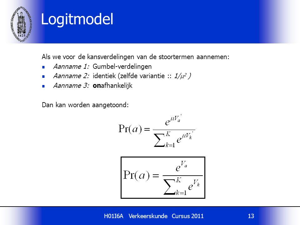 H01I6A Verkeerskunde Cursus 201113 Logitmodel Als we voor de kansverdelingen van de stoortermen aannemen: Aanname 1: Gumbel-verdelingen Aanname 2: ide