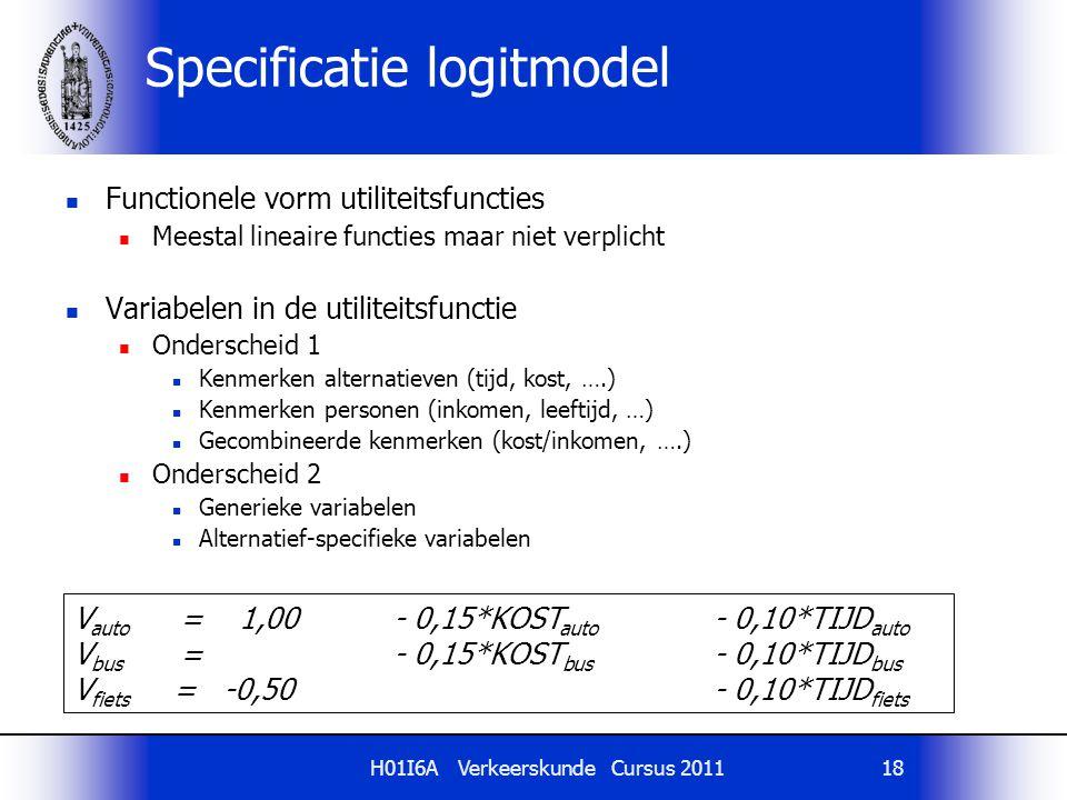 H01I6A Verkeerskunde Cursus 201118 Specificatie logitmodel Functionele vorm utiliteitsfuncties Meestal lineaire functies maar niet verplicht Variabele