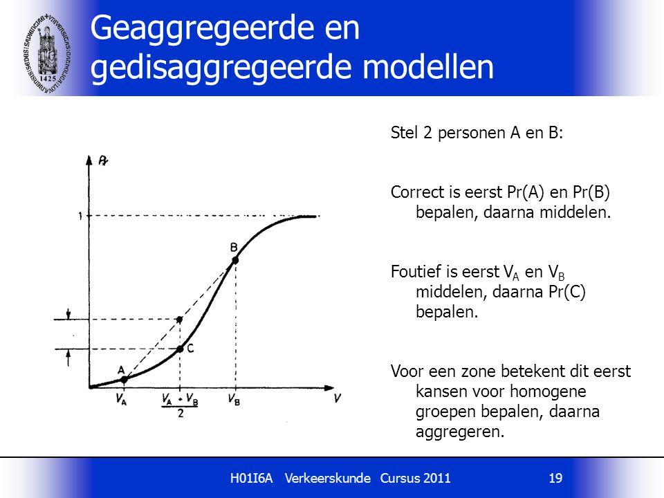 H01I6A Verkeerskunde Cursus 201119 Geaggregeerde en gedisaggregeerde modellen Stel 2 personen A en B: Correct is eerst Pr(A) en Pr(B) bepalen, daarna