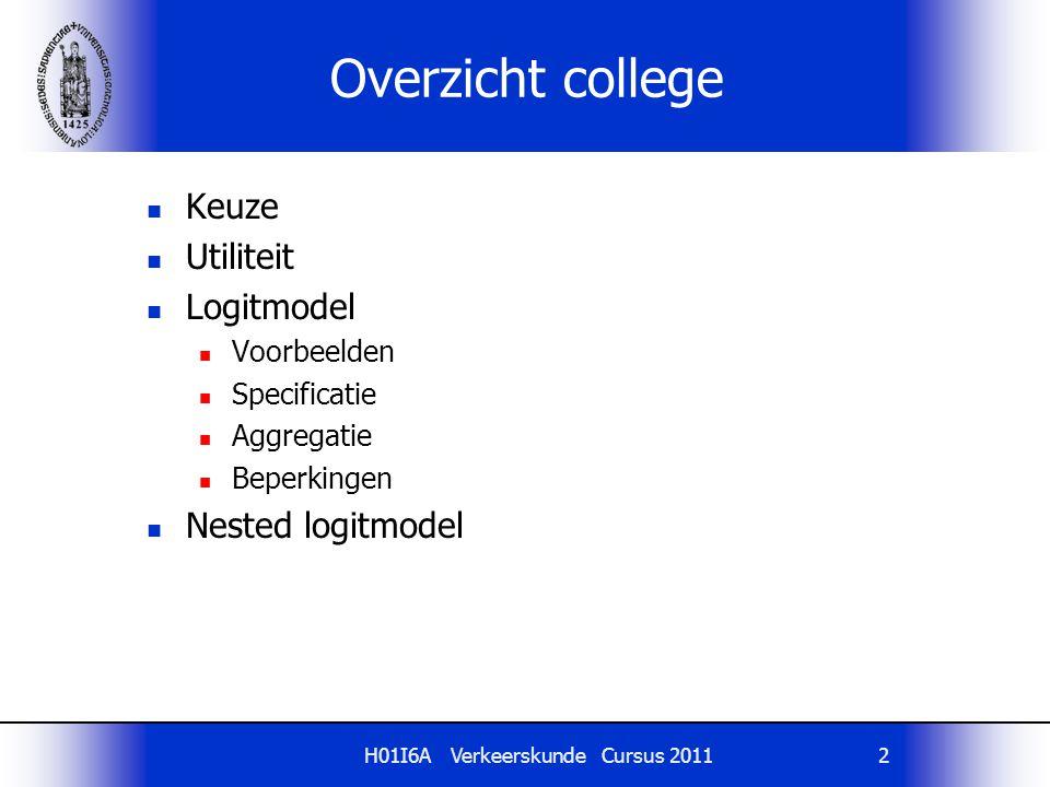 H01I6A Verkeerskunde Cursus 20112 Overzicht college Keuze Utiliteit Logitmodel Voorbeelden Specificatie Aggregatie Beperkingen Nested logitmodel