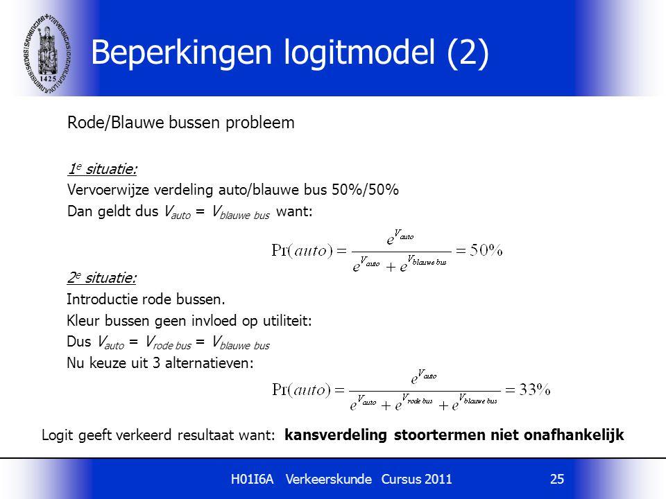 H01I6A Verkeerskunde Cursus 201125 Rode/Blauwe bussen probleem 1 e situatie: Vervoerwijze verdeling auto/blauwe bus 50%/50% Dan geldt dus V auto = V b