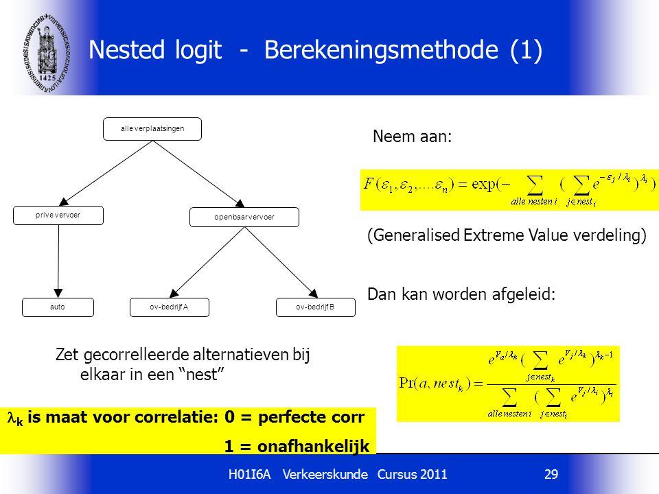 H01I6A Verkeerskunde Cursus 201129 k is maat voor correlatie: 0 = perfecte corr 1 = onafhankelijk Nested logit - Berekeningsmethode (1) alle verplaats
