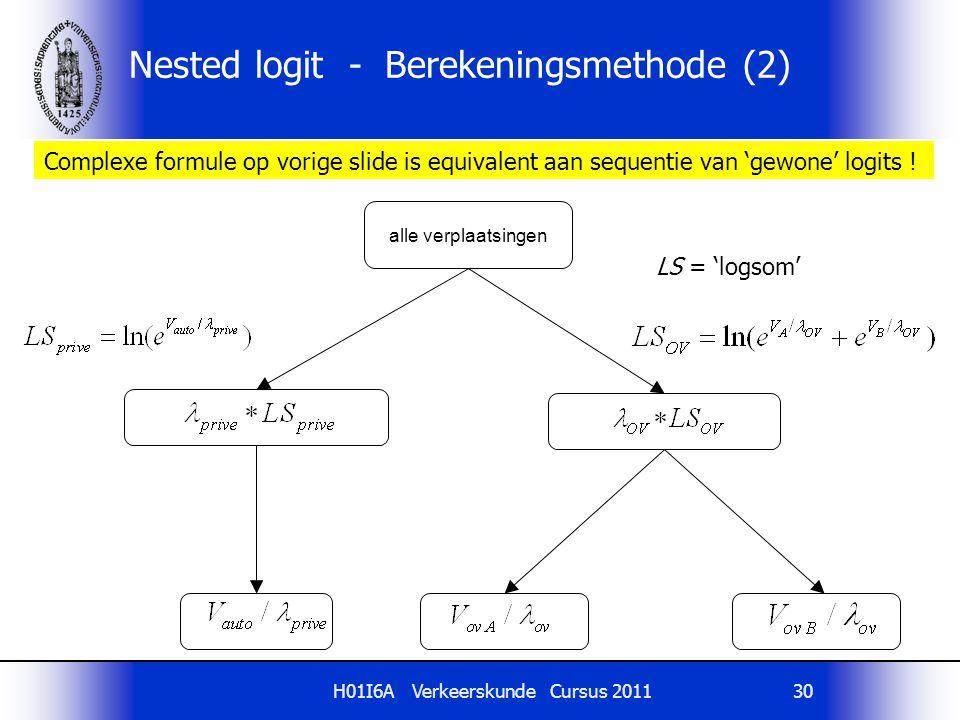 H01I6A Verkeerskunde Cursus 201130 Nested logit - Berekeningsmethode (2) alle verplaatsingen Complexe formule op vorige slide is equivalent aan sequentie van 'gewone' logits .