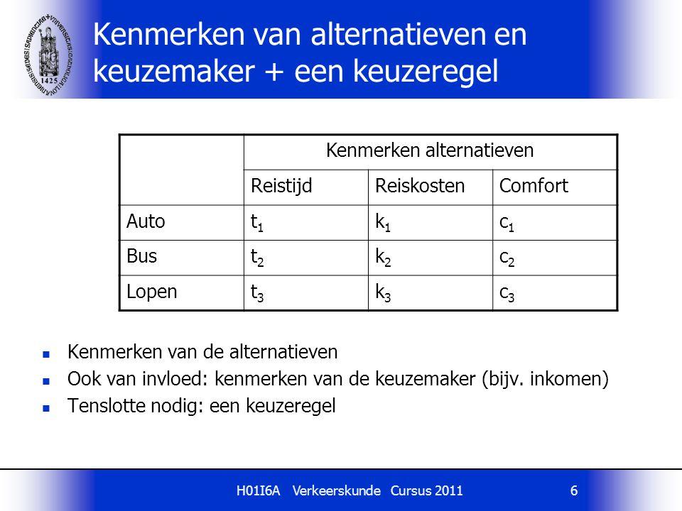 H01I6A Verkeerskunde Cursus 20116 Kenmerken van alternatieven en keuzemaker + een keuzeregel Kenmerken van de alternatieven Ook van invloed: kenmerken