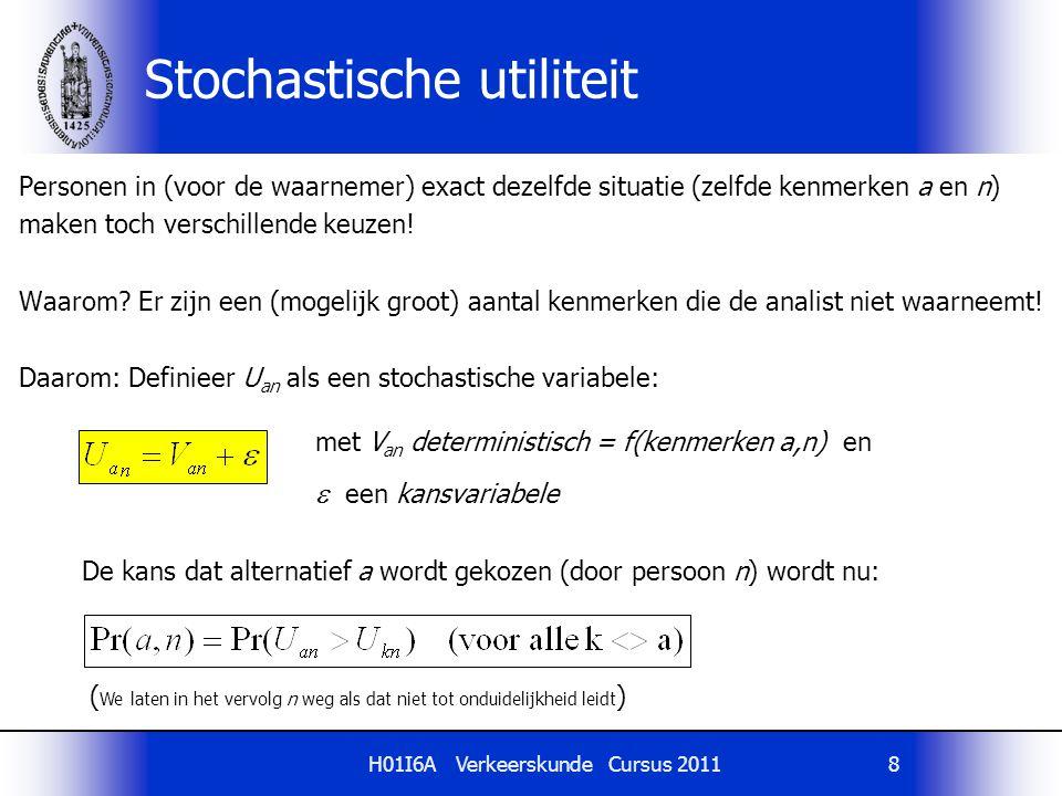H01I6A Verkeerskunde Cursus 20118 Stochastische utiliteit Personen in (voor de waarnemer) exact dezelfde situatie (zelfde kenmerken a en n) maken toch
