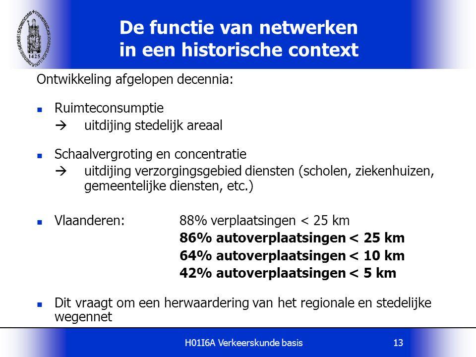H01I6A Verkeerskunde basis13 De functie van netwerken in een historische context Ontwikkeling afgelopen decennia: Ruimteconsumptie  uitdijing stedeli