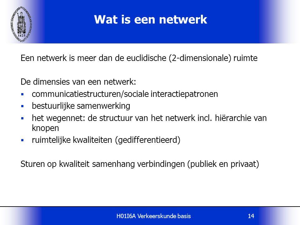 H01I6A Verkeerskunde basis14 Wat is een netwerk Een netwerk is meer dan de euclidische (2-dimensionale) ruimte De dimensies van een netwerk:  communi