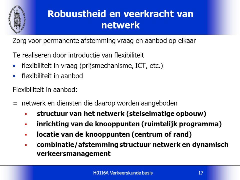 H01I6A Verkeerskunde basis17 Robuustheid en veerkracht van netwerk Zorg voor permanente afstemming vraag en aanbod op elkaar Te realiseren door introd