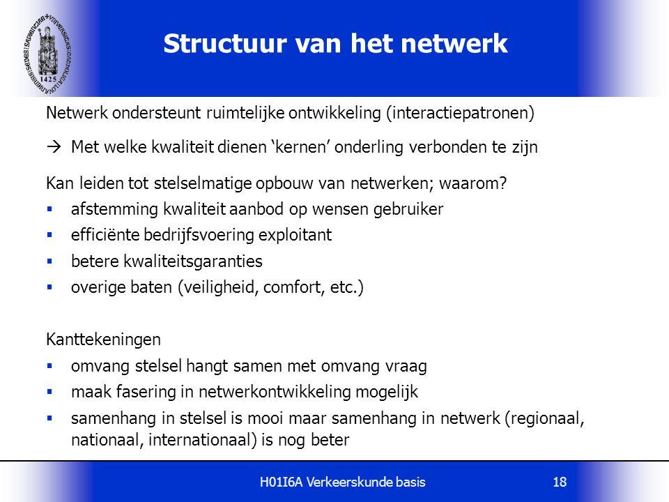H01I6A Verkeerskunde basis18 Structuur van het netwerk Netwerk ondersteunt ruimtelijke ontwikkeling (interactiepatronen)  Met welke kwaliteit dienen
