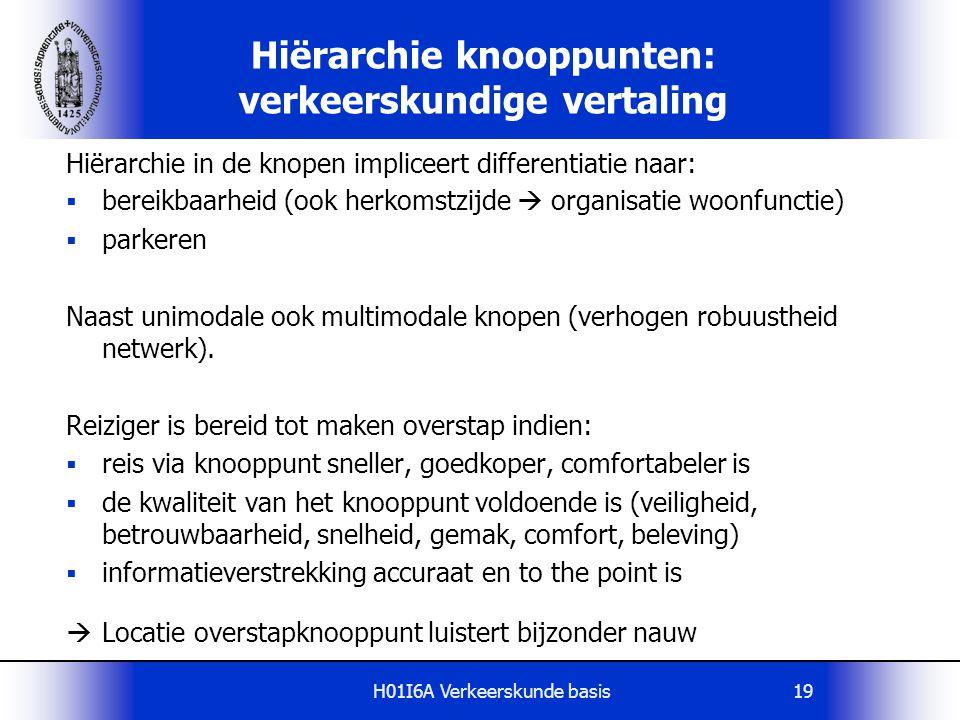 H01I6A Verkeerskunde basis19 Hiërarchie knooppunten: verkeerskundige vertaling Hiërarchie in de knopen impliceert differentiatie naar:  bereikbaarhei
