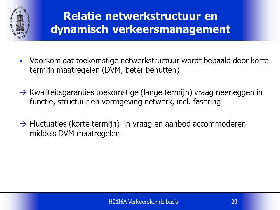H01I6A Verkeerskunde basis20 Relatie netwerkstructuur en dynamisch verkeersmanagement  Voorkom dat toekomstige netwerkstructuur wordt bepaald door ko