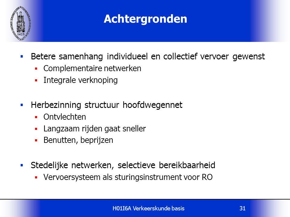 H01I6A Verkeerskunde basis31 Achtergronden  Betere samenhang individueel en collectief vervoer gewenst  Complementaire netwerken  Integrale verknop