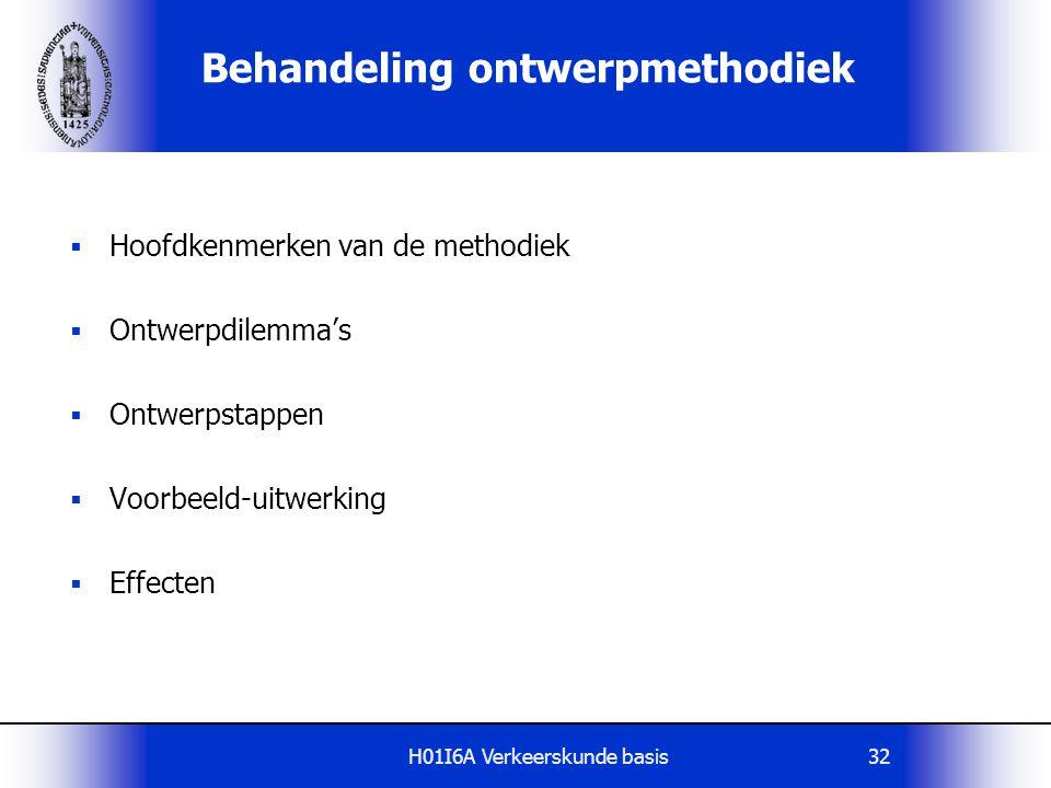 H01I6A Verkeerskunde basis32 Behandeling ontwerpmethodiek  Hoofdkenmerken van de methodiek  Ontwerpdilemma's  Ontwerpstappen  Voorbeeld-uitwerking  Effecten