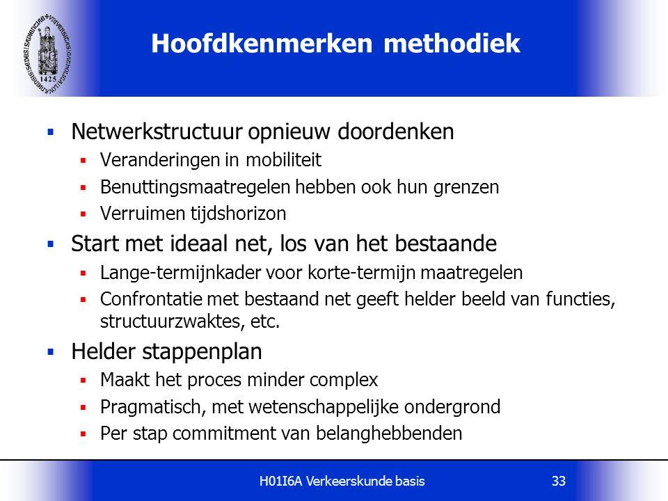 H01I6A Verkeerskunde basis33 Hoofdkenmerken methodiek  Netwerkstructuur opnieuw doordenken  Veranderingen in mobiliteit  Benuttingsmaatregelen hebb