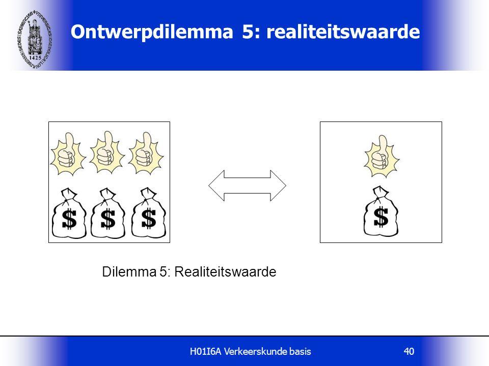 H01I6A Verkeerskunde basis40 Ontwerpdilemma 5: realiteitswaarde Dilemma 5: Realiteitswaarde