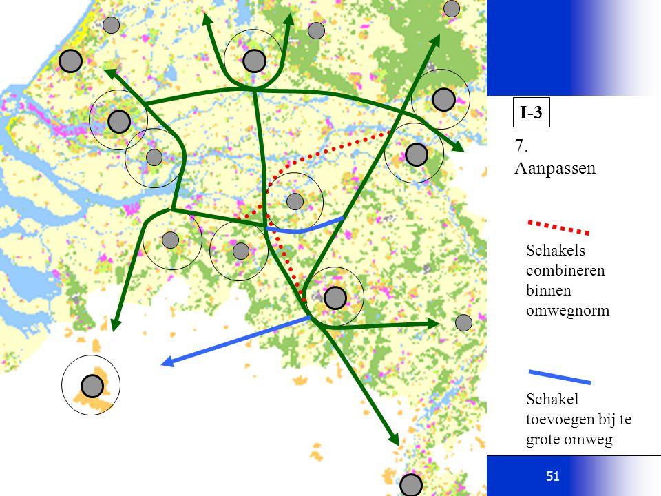 51 I-3 7. Aanpassen Schakels combineren binnen omwegnorm Schakel toevoegen bij te grote omweg
