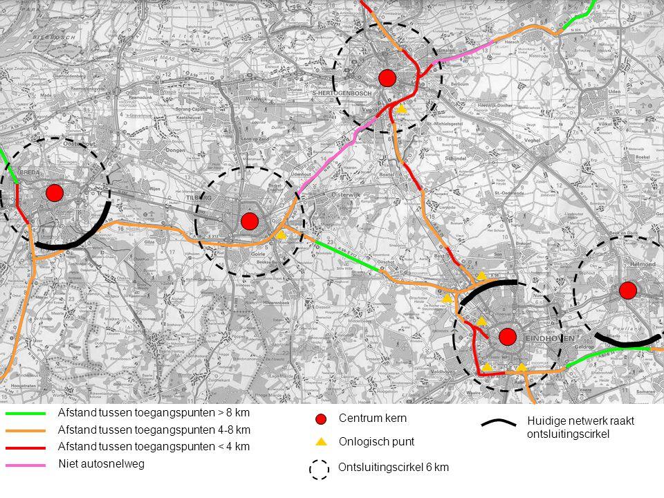 Afstand tussen toegangspunten > 8 km Afstand tussen toegangspunten 4-8 km Afstand tussen toegangspunten < 4 km Niet autosnelweg Centrum kern Onlogisch