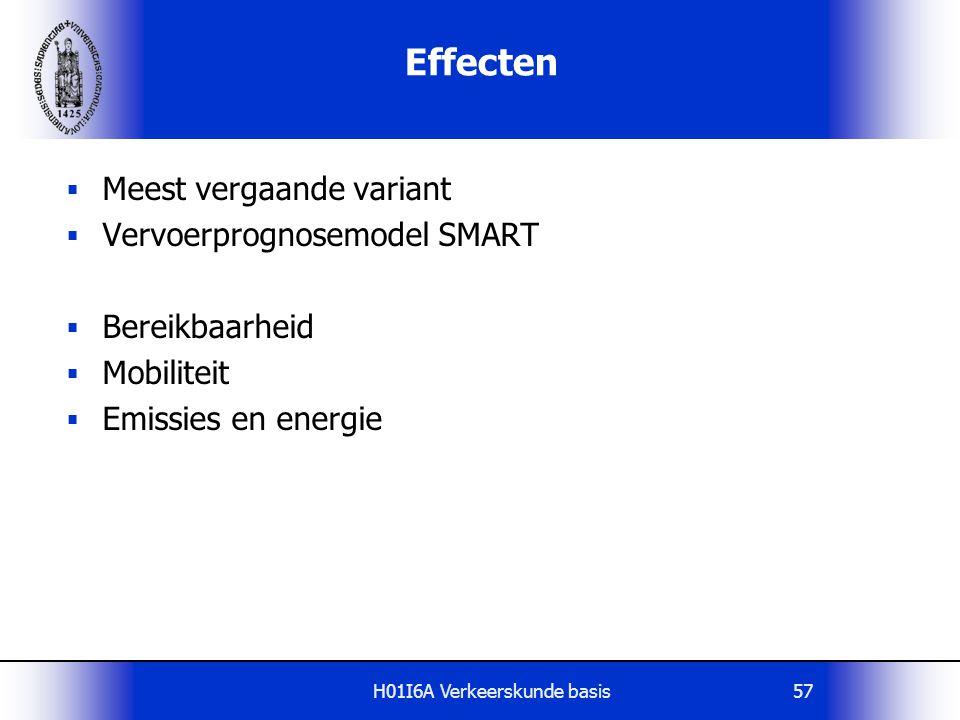 H01I6A Verkeerskunde basis57 Effecten  Meest vergaande variant  Vervoerprognosemodel SMART  Bereikbaarheid  Mobiliteit  Emissies en energie