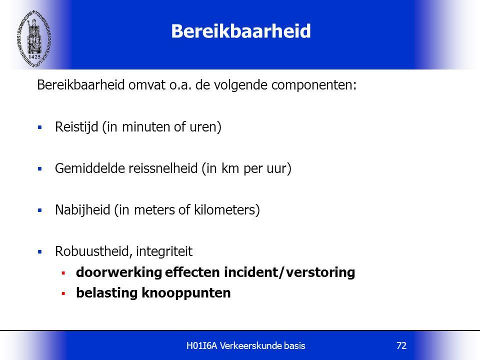 H01I6A Verkeerskunde basis72 Bereikbaarheid Bereikbaarheid omvat o.a. de volgende componenten:  Reistijd (in minuten of uren)  Gemiddelde reissnelhe