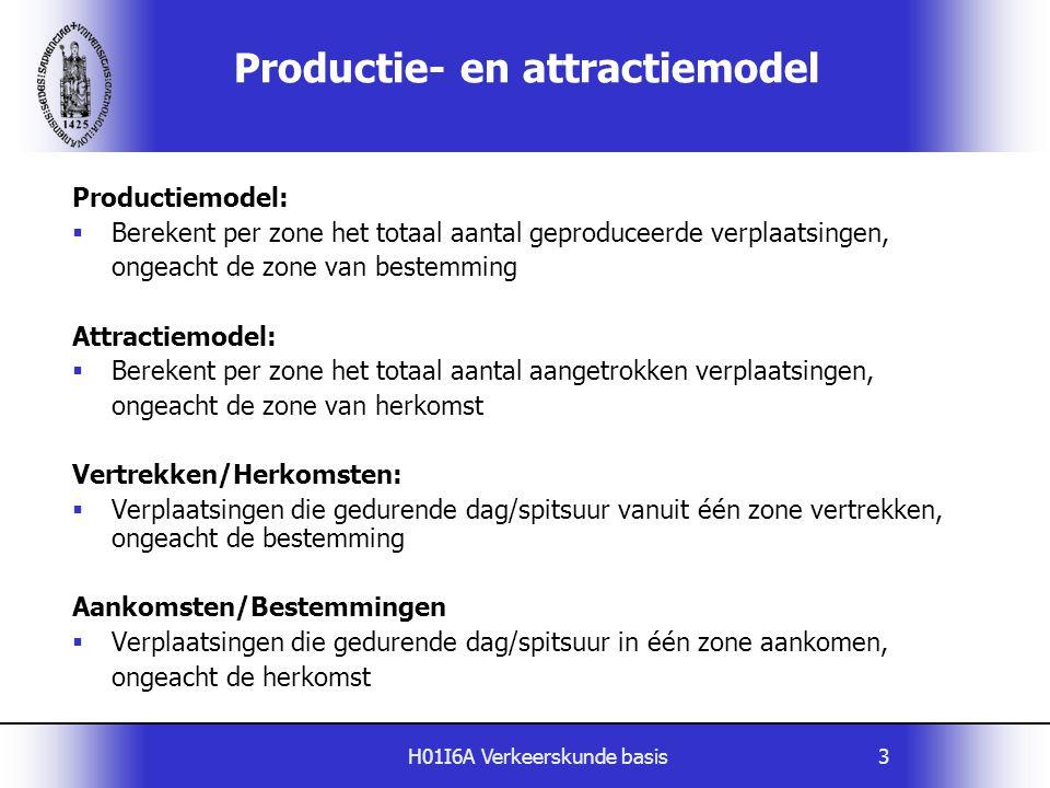 H01I6A Verkeerskunde basis3 Productie- en attractiemodel Productiemodel:  Berekent per zone het totaal aantal geproduceerde verplaatsingen, ongeacht