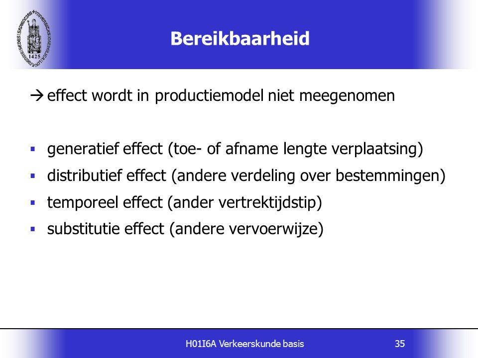 H01I6A Verkeerskunde basis35 Bereikbaarheid  effect wordt in productiemodel niet meegenomen  generatief effect (toe- of afname lengte verplaatsing)