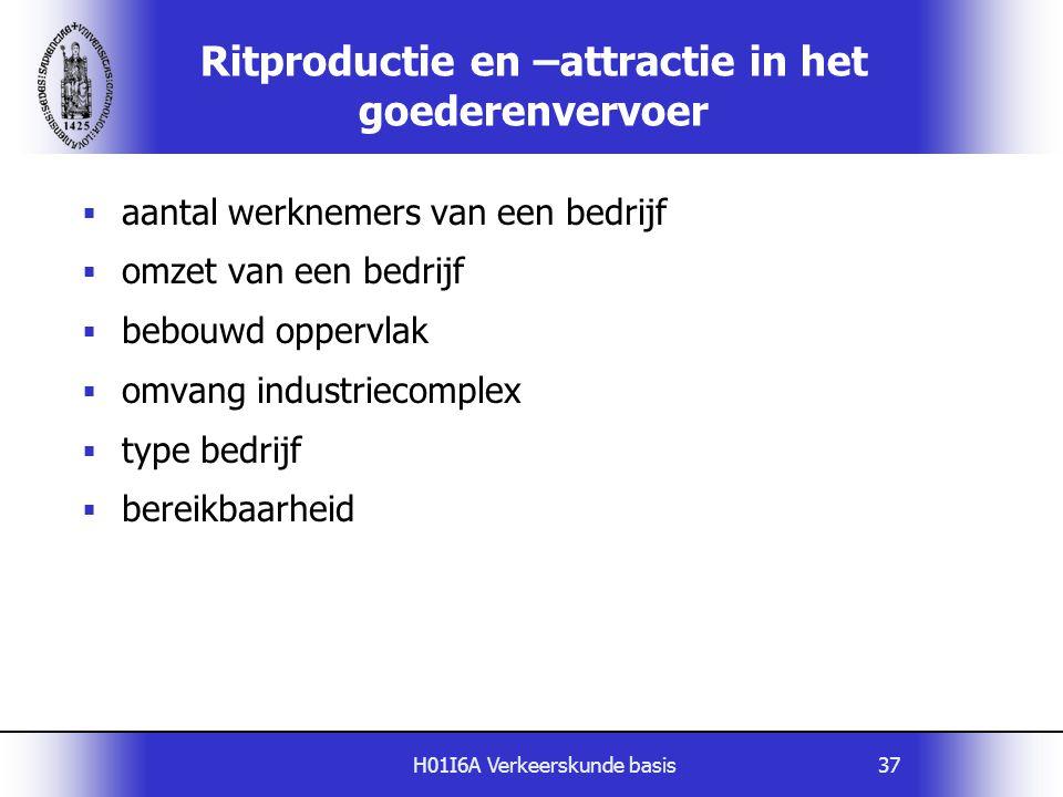 H01I6A Verkeerskunde basis37 Ritproductie en –attractie in het goederenvervoer  aantal werknemers van een bedrijf  omzet van een bedrijf  bebouwd o