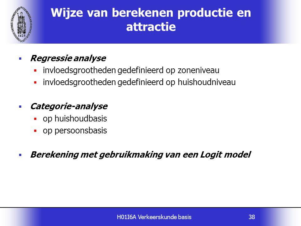 H01I6A Verkeerskunde basis38 Wijze van berekenen productie en attractie  Regressie analyse  invloedsgrootheden gedefinieerd op zoneniveau  invloeds