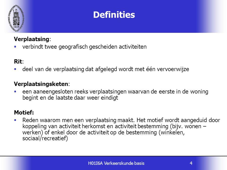 H01I6A Verkeerskunde basis4 Definities Verplaatsing:  verbindt twee geografisch gescheiden activiteiten Rit:  deel van de verplaatsing dat afgelegd