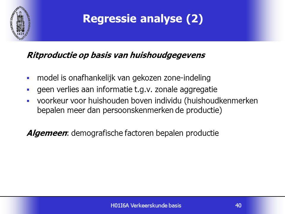 H01I6A Verkeerskunde basis40 Ritproductie op basis van huishoudgegevens  model is onafhankelijk van gekozen zone-indeling  geen verlies aan informat