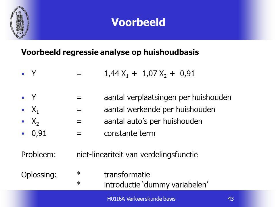 H01I6A Verkeerskunde basis43 Voorbeeld Voorbeeld regressie analyse op huishoudbasis  Y=1,44 X 1 + 1,07 X 2 + 0,91  Y=aantal verplaatsingen per huish