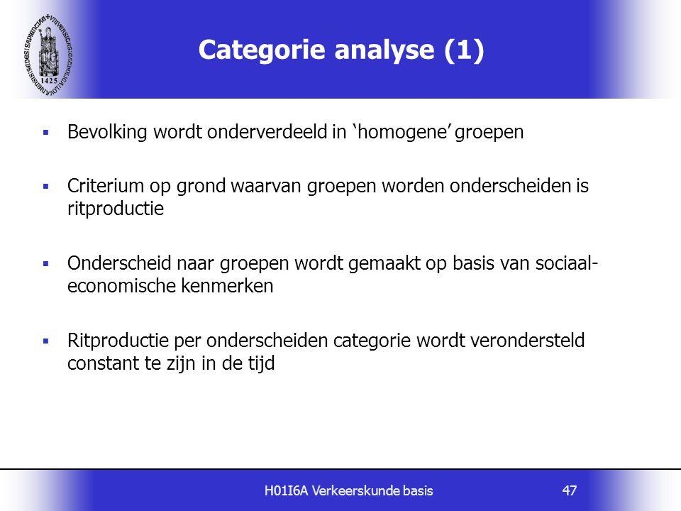 H01I6A Verkeerskunde basis47 Categorie analyse (1)  Bevolking wordt onderverdeeld in 'homogene' groepen  Criterium op grond waarvan groepen worden o