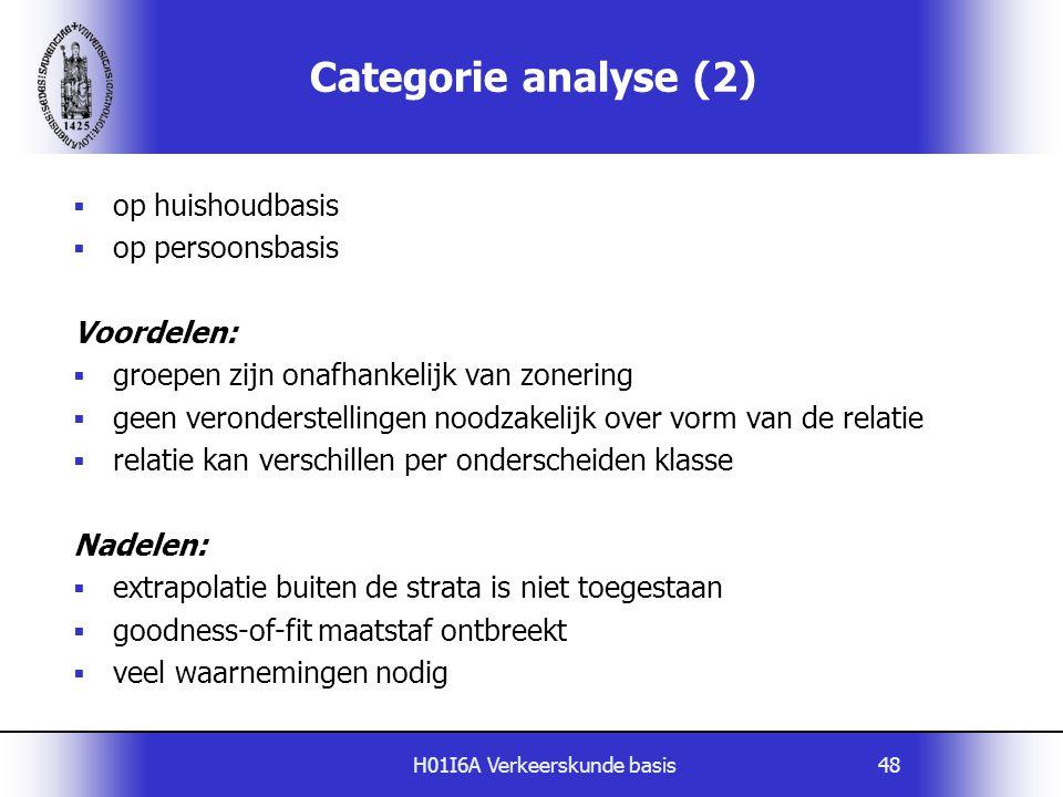 H01I6A Verkeerskunde basis48  op huishoudbasis  op persoonsbasis Voordelen:  groepen zijn onafhankelijk van zonering  geen veronderstellingen nood
