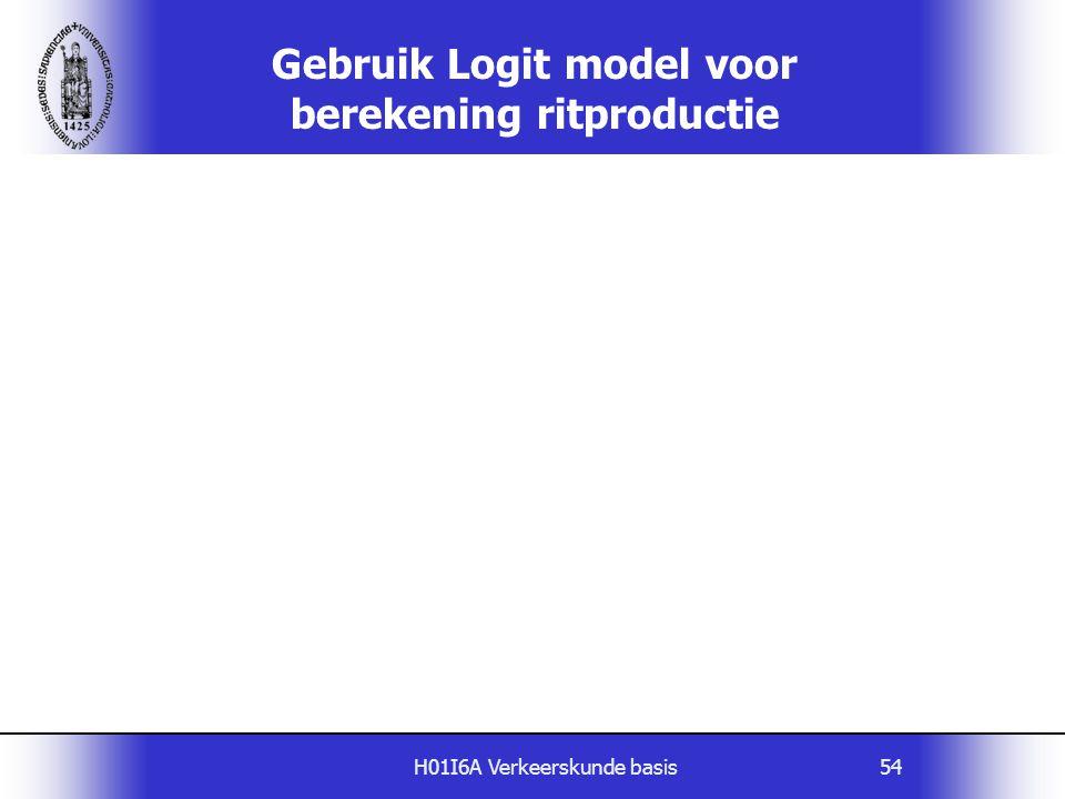 H01I6A Verkeerskunde basis54 Gebruik Logit model voor berekening ritproductie