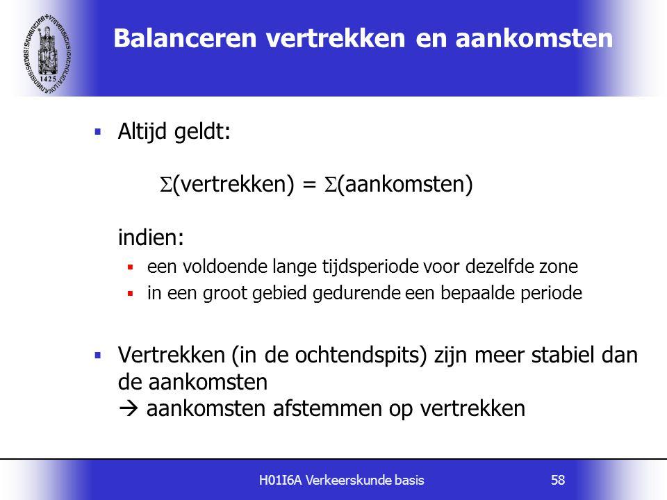 H01I6A Verkeerskunde basis58 Balanceren vertrekken en aankomsten  Altijd geldt:  (vertrekken) =  (aankomsten) indien:  een voldoende lange tijdspe
