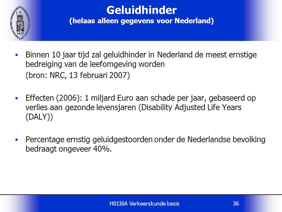 H01I6A Verkeerskunde basis36 Geluidhinder (helaas alleen gegevens voor Nederland)  Binnen 10 jaar tijd zal geluidhinder in Nederland de meest ernstig