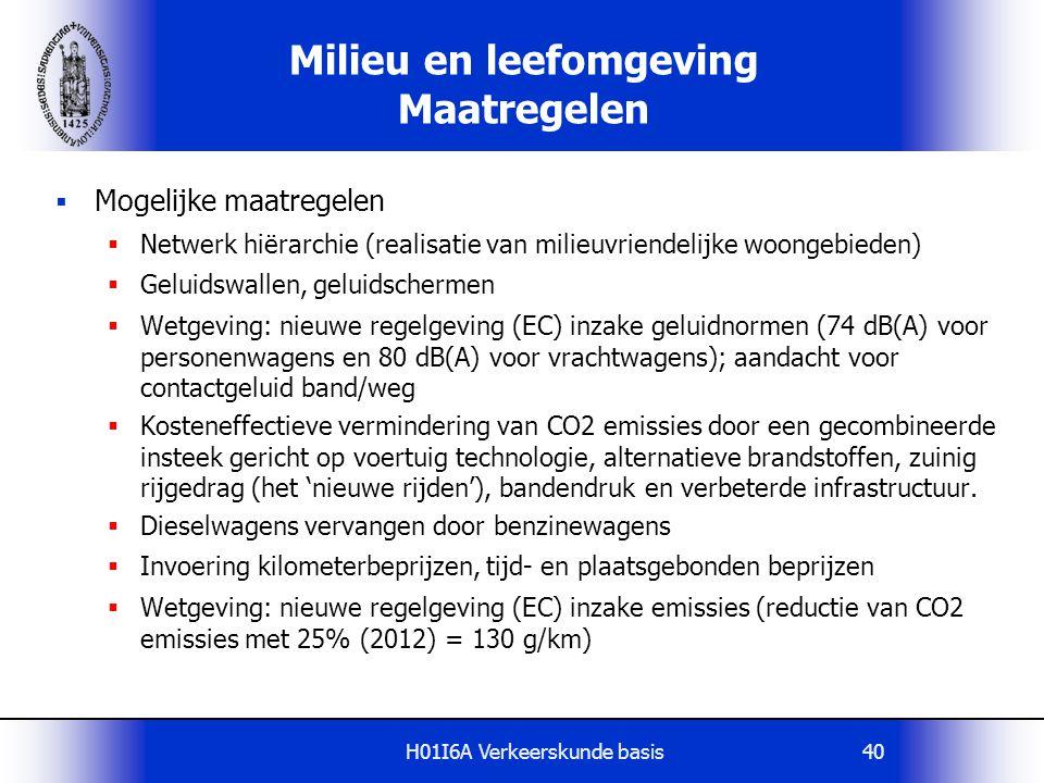 H01I6A Verkeerskunde basis40 Milieu en leefomgeving Maatregelen  Mogelijke maatregelen  Netwerk hiërarchie (realisatie van milieuvriendelijke woonge