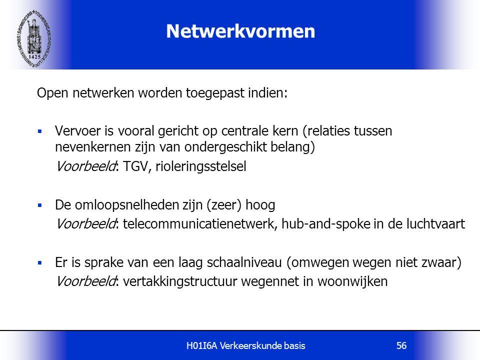 H01I6A Verkeerskunde basis56 Netwerkvormen Open netwerken worden toegepast indien:  Vervoer is vooral gericht op centrale kern (relaties tussen neven