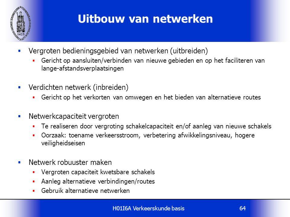 H01I6A Verkeerskunde basis64 Uitbouw van netwerken  Vergroten bedieningsgebied van netwerken (uitbreiden)  Gericht op aansluiten/verbinden van nieuw
