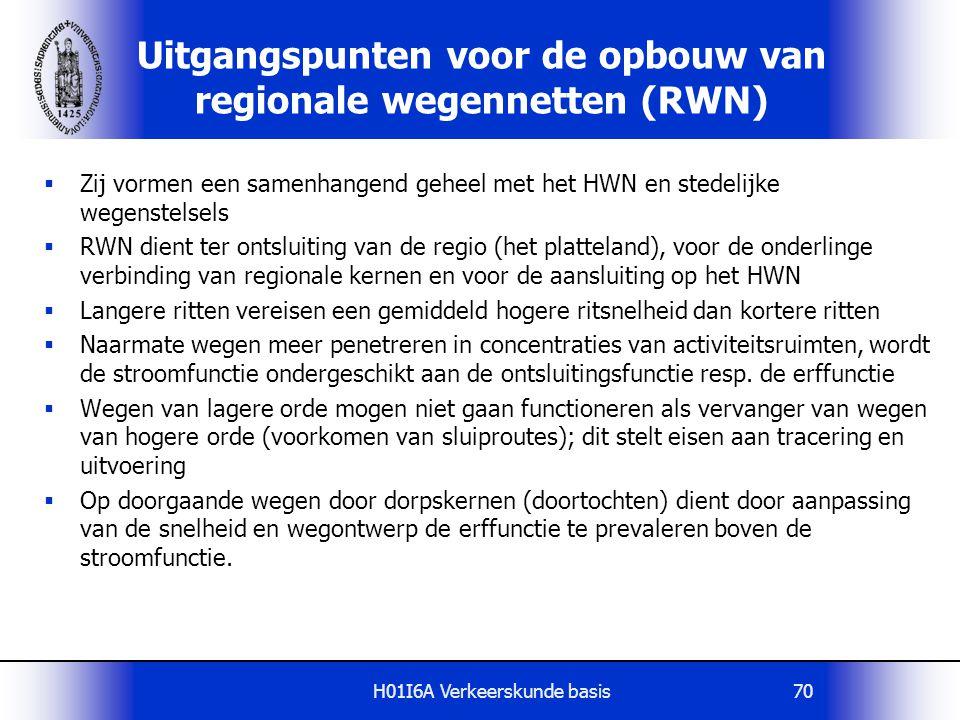 H01I6A Verkeerskunde basis70 Uitgangspunten voor de opbouw van regionale wegennetten (RWN)  Zij vormen een samenhangend geheel met het HWN en stedeli