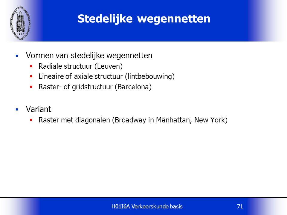 H01I6A Verkeerskunde basis71 Stedelijke wegennetten  Vormen van stedelijke wegennetten  Radiale structuur (Leuven)  Lineaire of axiale structuur (l