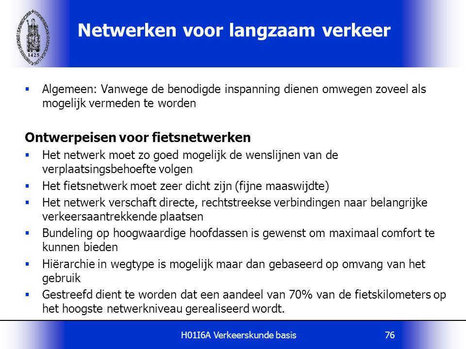 H01I6A Verkeerskunde basis76 Netwerken voor langzaam verkeer  Algemeen: Vanwege de benodigde inspanning dienen omwegen zoveel als mogelijk vermeden t