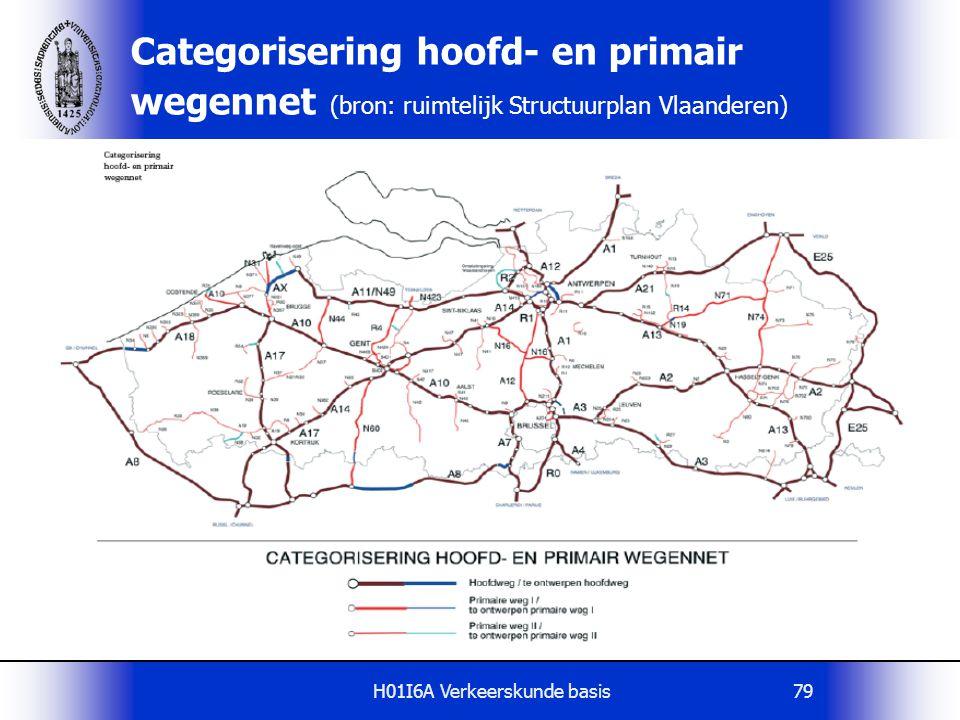 H01I6A Verkeerskunde basis79 Categorisering hoofd- en primair wegennet (bron: ruimtelijk Structuurplan Vlaanderen)